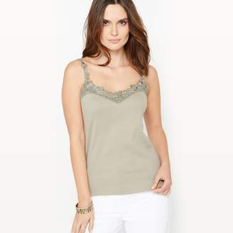 Anne Weyburn Plain V-Neck Top with Lace Straps