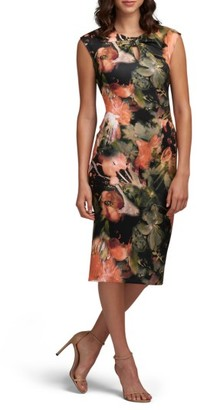 Women's Eci Bow Tie Neck Print Sheath Dress $88 thestylecure.com