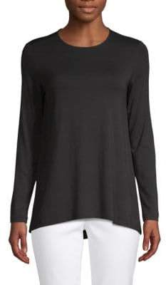 Saks Fifth Avenue BLACK Long-Sleeve Swing Tee