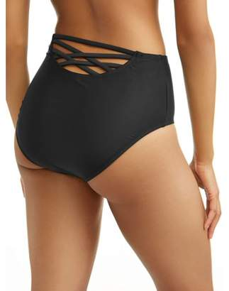 Time and Tru Women's Strappy Back High Waist Swimsuit Bottom