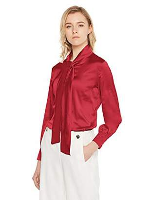 MEHEPBURN Women's Long Sleeve Bow-Tie Neck Silky Button Down Shirt Blouse L