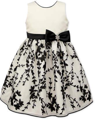 Jayne Copeland Toddler Girls Embroidered Satin Dress