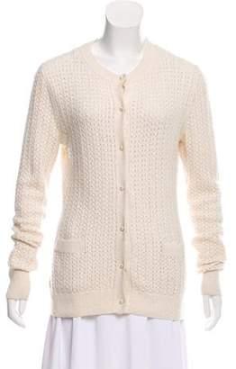 Oscar de la Renta Silk & Cashmere Open Knit Cardigan