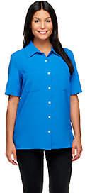 Susan Graver Woven Short Sleeve Camp Shirt