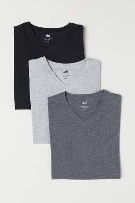 H&M 3-pack T-shirts Slim fit - Gray