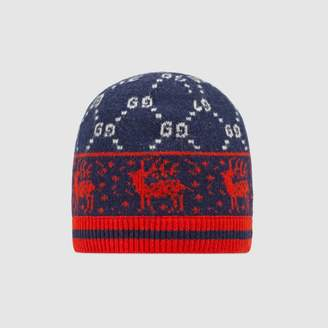Gucci Children's GG reindeers wool hat