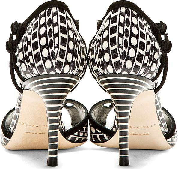 Brian Atwood Black & White Snakeskin Geometric Heeled Sandals