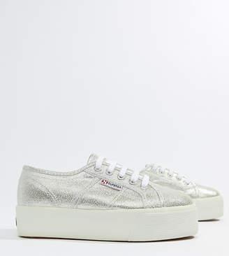 Superga 2790 Metallic Lame Flatform Sneakers In Silver
