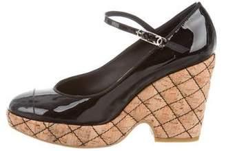 Chanel Cap-Toe Mary Jane Platform Wedges