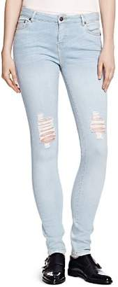 The Kooples Distressed Billy Skinny Jeans in Baby Blue