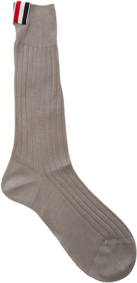 Thom Browne Ribbed Mid Calf Socks $90 thestylecure.com
