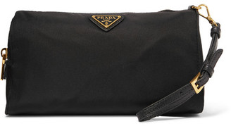 Prada - Textured Leather-trimmed Shell Cosmetics Case - Black $360 thestylecure.com