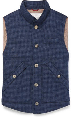 Brunello Cucinelli Slim-Fit Checked Quilted Wool, Linen and Silk-Blend Down Gilet