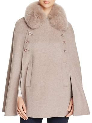 Maximilian Furs Fox Fur Collar Wool & Cashmere Cape - 100% Exclusive