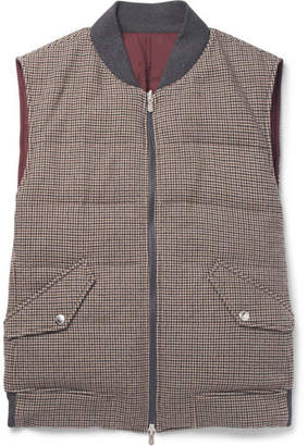 Brunello Cucinelli Reversible Houndstooth Wool and Cashmere-Blend Quilted Down Gilet - Brown