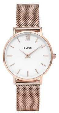 Cluse Minuit CL30013 Rose Goldtone Mesh Bracelet Analog Watch