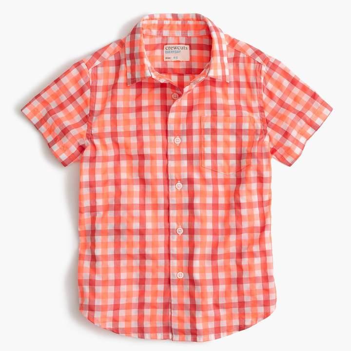 Kids' short-sleeve Secret Wash shirt in neon gingham