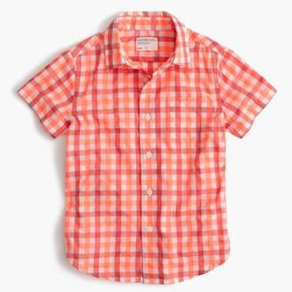 J.Crew Kids' short-sleeve Secret Wash shirt in neon gingham