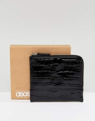 Asos Leather Zip Around Wallet In Patent Black Crocodile Emboss