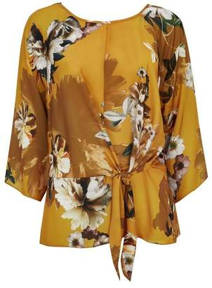 Wallis Ochre Floral Print Satin Look Blouse