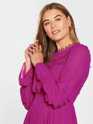 Ted Baker Arrebel Lace Trim Volume Sleeve Dress - Bright Pink