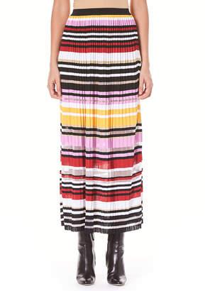 Carolina Herrera Striped Pleated Knit A-Line Maxi Skirt