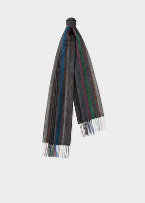 Paul Smith Men's Charcoal Grey Multi-Coloured Stripe Lambswool Scarf