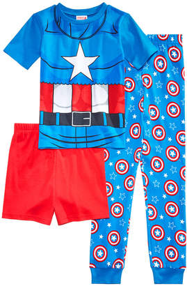 Marvel Marvel's Captain America 3-Pc. Cotton Pajama Set, Little Boys & Big Boys