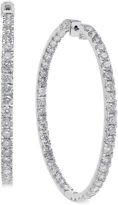 Macy's Diamond Large Inside & Out Hoop Earrings (10 ct. t.w.) in 14k White Gold