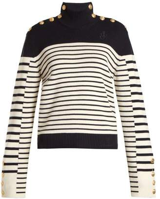 J.W.Anderson Breton Stripe Roll Neck Sweater - Womens - Navy White