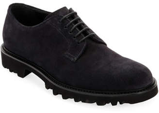 Giorgio Armani Men's Lugged-Sole Suede Derby Shoe