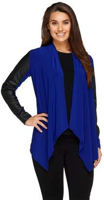 Joan Rivers Classics Collection Joan Rivers Luxe Knit Draped Cardigan w/ Faux Leather Sleeves