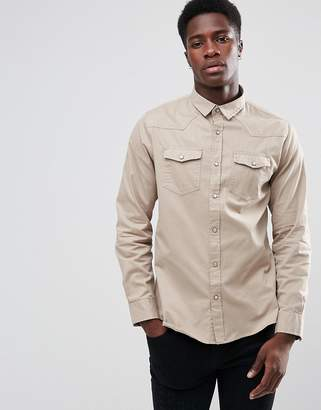 Brave Soul Double Pocket Long Sleeve Shirt