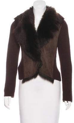 Agnona Cashmere Fur Trim Cardigan