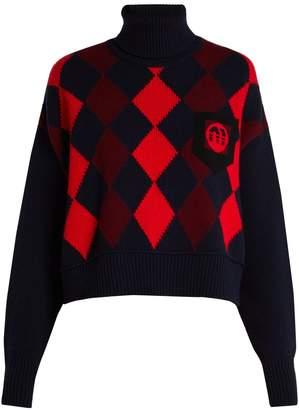 Miu Miu Intarsia-knit virgin-wool roll-neck sweater