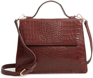 Nordstrom Ryder Croc Embossed Leather Top Handle Bag