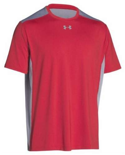 Under Armour Team Raid T-Shirt Tee Men's UA Short Sleeve Colorblock (Red, SM)