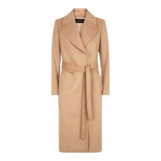 Camel Wool Blend Wrap Coat