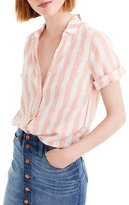 J.Crew J. CREW Wide Stripe Short Sleeve Button-Up Shirt