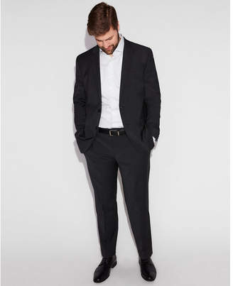 Express slim black check wool-blend performance stretch suit pant