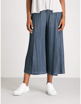 Pleats Please Issey Miyake Mellow Pleats wide-leg cropped pleated trousers