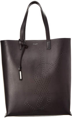 Saint Laurent Bold Perforated Leather Shopping Tote