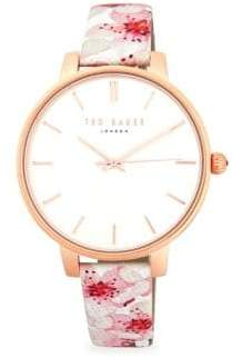 Ted Baker Floral Stainless Steel & Leather-Strap Watch