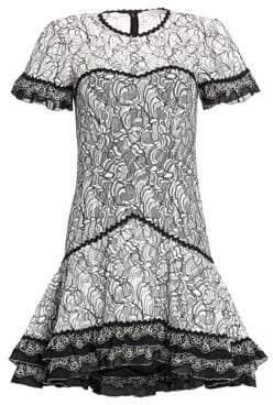 Jonathan Simkhai Women's Multimedia Corded Lace Ruffle Hem Dress - Black White - Size 0