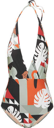 Adriana Degreas - Printed Halterneck Swimsuit - Gray