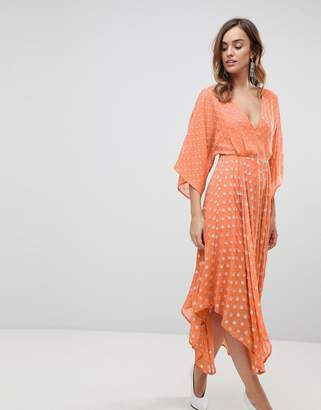 Asos Design Flutter Sleeve Midi Dress with Hanky Hem in Glitter Spot