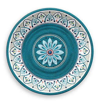 One Kings Lane Set of 6 Moroccan Melamine Dinner Plates - Teal