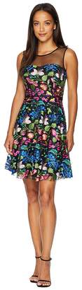 Tahari ASL Petite Mesh Embroidered Party Dress Women's Dress