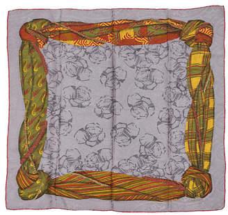 One Kings Lane Vintage Lanvin Gray Tartan Silk Scarf