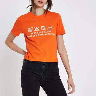 River Island Womens Orange Ditch the Label cropped T-shirt